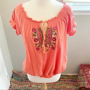 Coral Orange Embroidered Boho Blouse